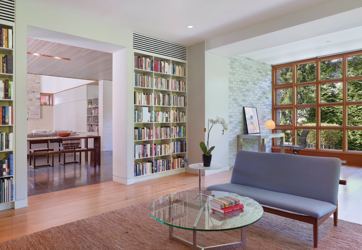 Lined with built-in bookcases, the