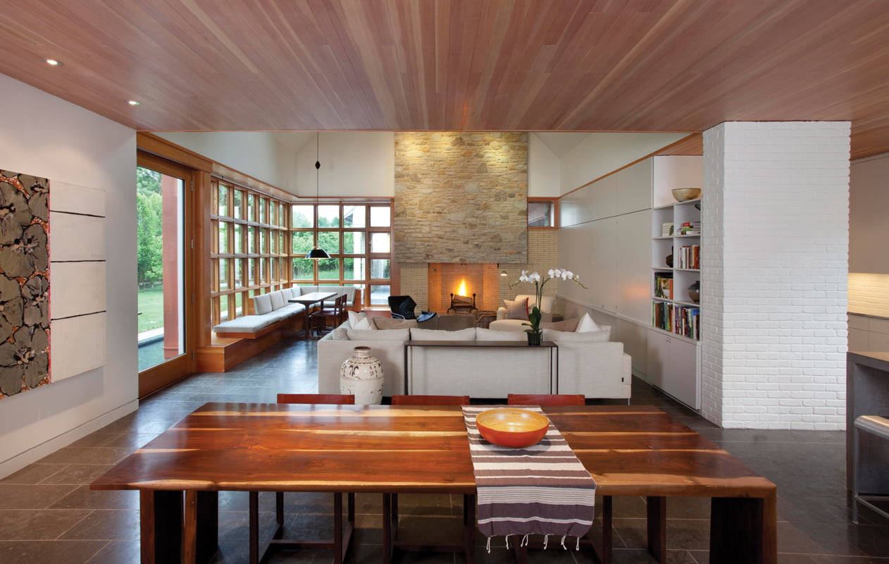 Living and dining areas are combined into a single open space at the heart of the house. © SCOTT SMITH