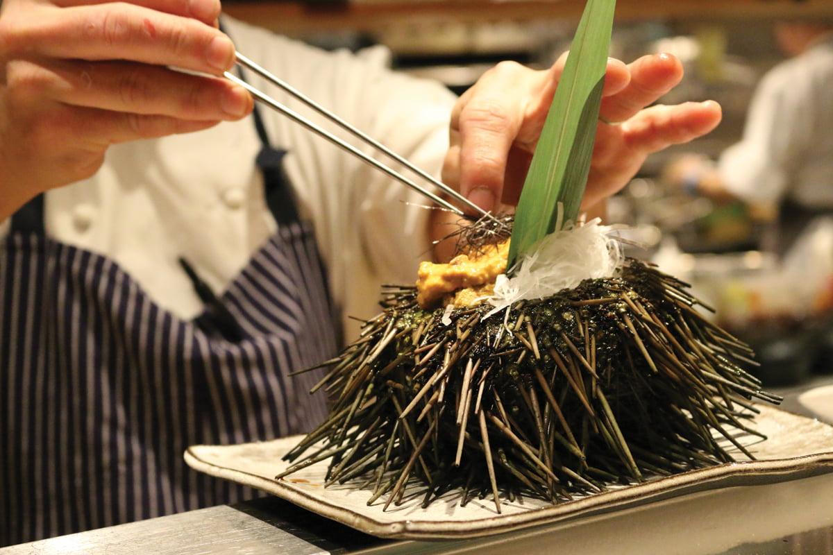 Live Santa Barbara sea urchin at Azumi in the Four Seasons Hotel Baltimore.